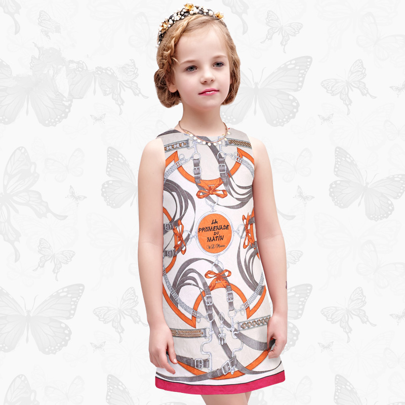 Toddler Girls Dresses Children Clothing 2017 Brand Princess Dress for Girls Clothes Fish Print Kids Beading Dress 1 39<br>