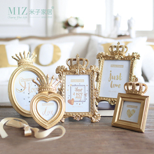 Miz Home 1 Piece 5 Model Luxury Baroque Style Gold Crown Decor Creative Resin Picture Desktop Frame Photo Frame Gift for Friend(China)