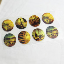 8Pcs Vintage Eiffel Tower Offset Press Iron-on Patches for Clothing Offset PET Transfer DIY Scrapbooking Materails Patches 3x4cm