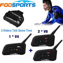 1 *V4+2 *V6 BT Interphone 3 Riders talking at the same time for Football Referee Judge Bike Wireless Bluetooth Headset Intercom(China)