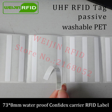 UHF RFID tag confidex carrier printable PET label 915m 73*8mm 868m 860-960MHZ M4QT EPCC1G2 6C smart washable passive RFID label