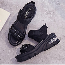 Black Shoes Sandals Diamond Summer Lady Thick-Sole Fahinal Beach New