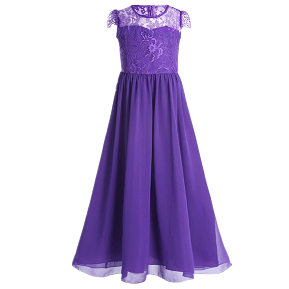 Kids Girls Chiffon Lace Sleeves Flower Dress Party Ball Gown Prom Princess Bridesmaid Children Dress for 4 6 8 10 12 14 years<br>