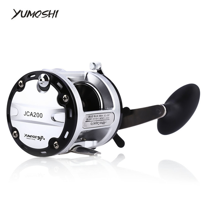 YUMOSHI 12 + 1 Ball Bearings Cast Drum Fishing Reel Trolling Aluminum Alloy Spool Fishing Reels<br>