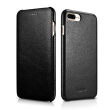 XOOMZ Brand Luxury Litchi Stria Curved Surface Flip Cover Genuine Leather Case for iphone 7 & iPhone 7 Plus Mobile Phone Cases