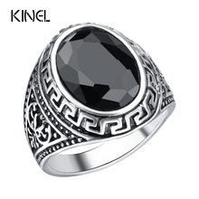 Hot Men Ring Oval Black Resin Silver Plated Punk Rock Vintage Jewelry 2016 Tibet Silver Alloy Accessories Cheap Wholesale