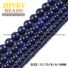 JHNBY Lapis lazuli beads Natural Stone Top quality Ore Round Loose beads ball 4/6/8/10/12MM handmade Jewelry bracelet making DIY