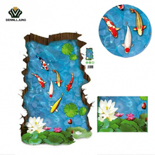 1 Pcs/set 3D Stereo Fish Pool Wall 30*60Cm Stickers Model Floor Tile Bedroom Floor Decorative Accessories Gadget Wall Beautiful