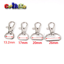 "2pcs Pack 1/2"" 5/8"" 3/4"" 1""Metal Lobster Clasps Snap Hooks Rotary Swivel Backpack Webbing Strap Nickel Plated KeyChain#FLQ059"
