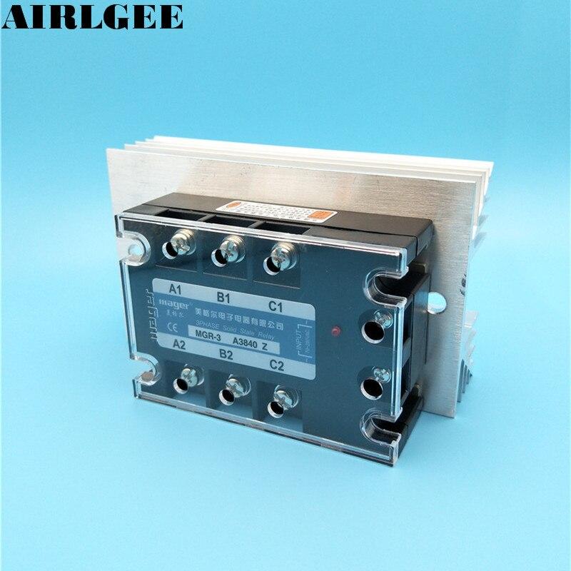 High quality SSR AC-AC 70-280VAC Control 380VAC 40A 3 Phase Solid State Relay wtih Heat Sink<br>