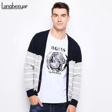 New Autumn Winter Fashion Brand Clothing Men Knitted Sweater Trend V-Neck Slim Fit Men Cardigan 100% Cotton Striped Sweater Men(China)