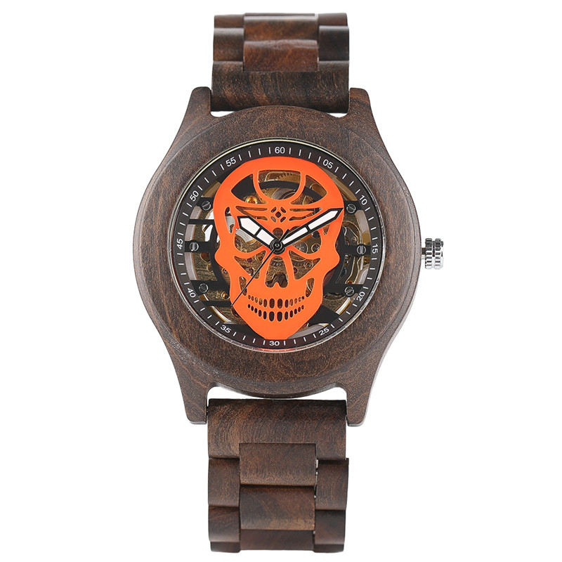Bamboo Skull Sport Analog Trendy Wood Automatic Mechanical Business Watch Men Stylish Wooden Wristwatch Male Clock Creative Gift<br>