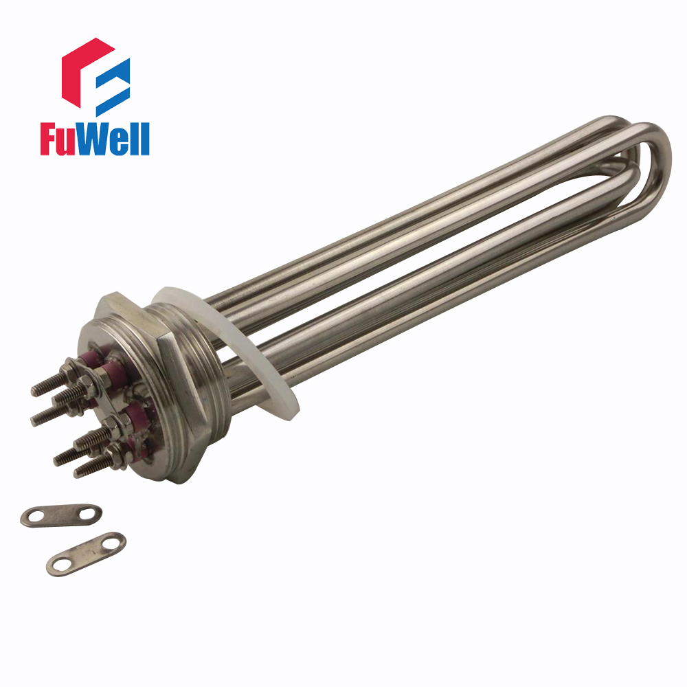 304 Stainless Steel 220V 9KW Heating Element U Shaped DN40 Electric Heating Tube Heater for Water Tank<br>