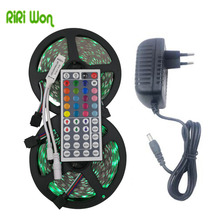RiRi won 5050 RGB LED Strip light 30LEDS 5m 10m 15m flexible Leds Diode led Tape SMD 44 keys IR controller 12V Power Adapter set