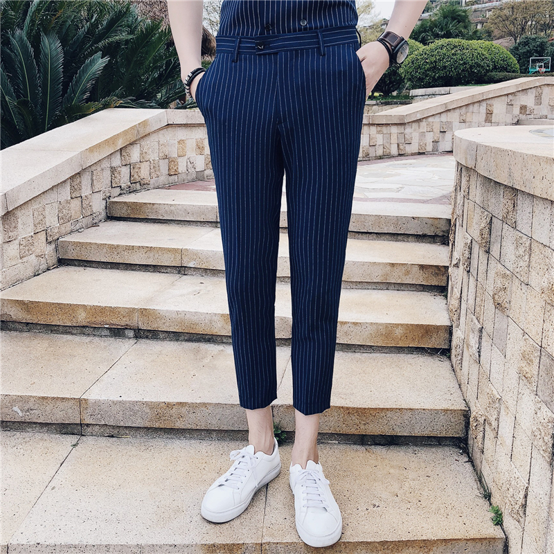 2018 Summer Striped Pants British Style Trousers Mens White Social Dress