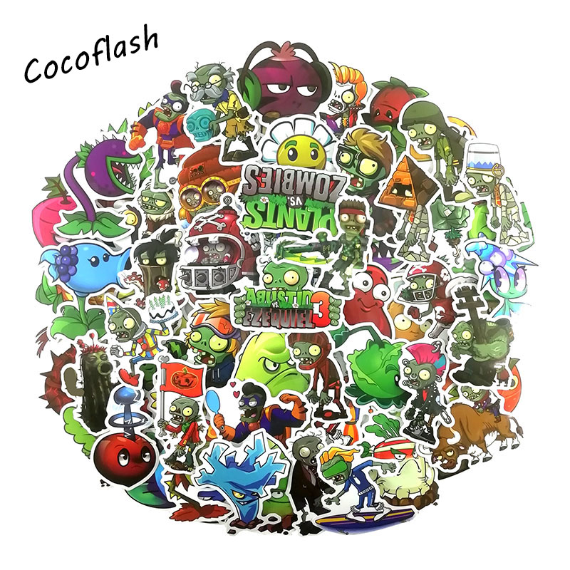 100PCS Game Plants Vs. Zombies Cartoon Stickers For Skateboard Laptop Luggage Snowboard Fridge Phone Laptop Graffiti Stickers