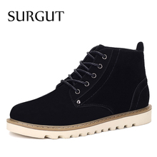 SURGUT Brand 2017 Spring Men Boots Popular Cow Suede Winter Boots For Men Fashion Footwear Ankle Boots Casual Winter Mens Shoes(China)