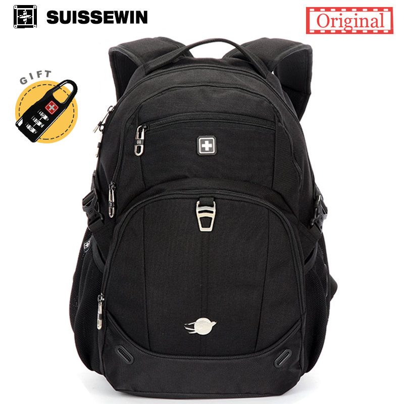 Suissewin Brand Mens Backpack SN8043 Swiss Army Waterproof Women Laptop Travel Backpack Bagpack Back Bag Black White sac a dos<br>