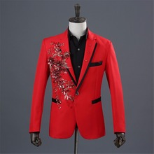 Red Blazer Men Slim Fit Terno Masculino Slim Fit Stage Costumes Men White Appliqued Mens Floral blazer