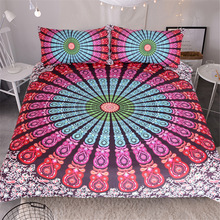 Bohemian Style 3D read and purple follower duvet cover bedding set queen size(China)
