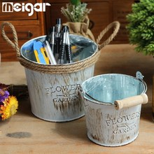 Vintage Tin Flower Pots Barrels Basket Artificial Pastoral Style Metal Vases Craft for Storage Home Decor Garden Decoration