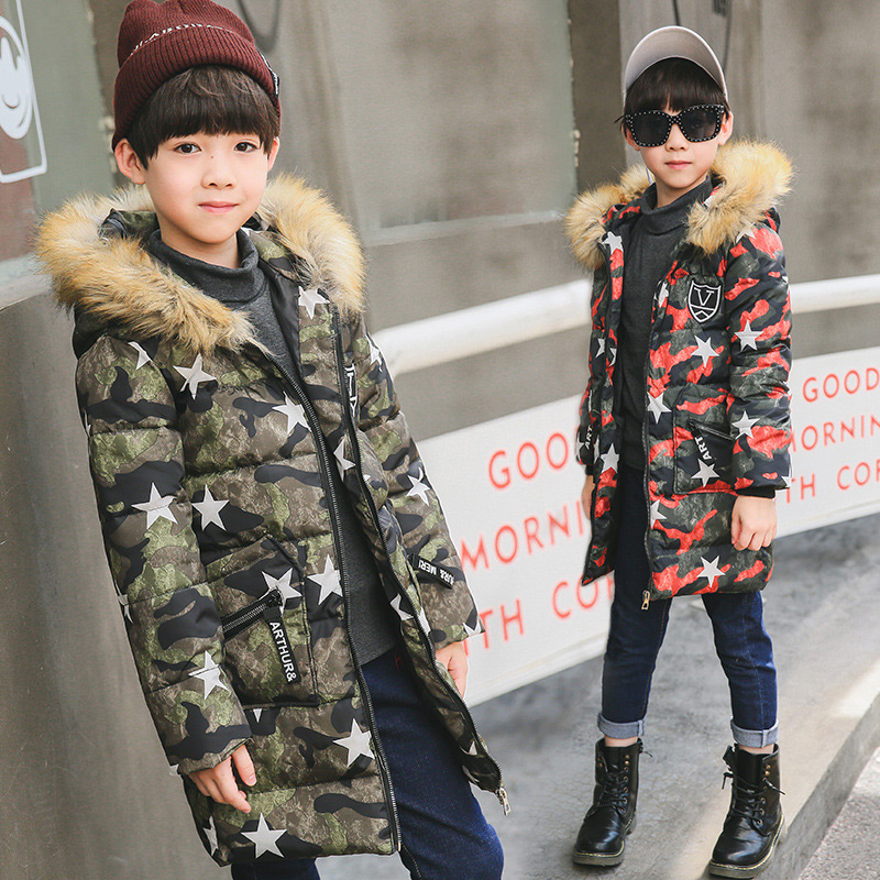 Fashion Hooded Down Jacket for Boys Coat Camouflage Long Sleeve Boy Clothes Winter Jacket Windbreaker Children Winter Clothes<br>