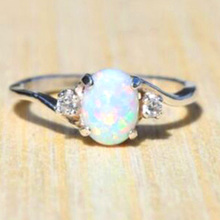 New Design White Fire Opal Ring Fashion Jewelry Women Silver Color Zircon Rings(China)