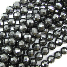 "Free Shipping Natural Stone Faceted Black Hematite Shamballa Beads 4 6 8 10 MM 16"" Per Strand Pick Size No.HB32"