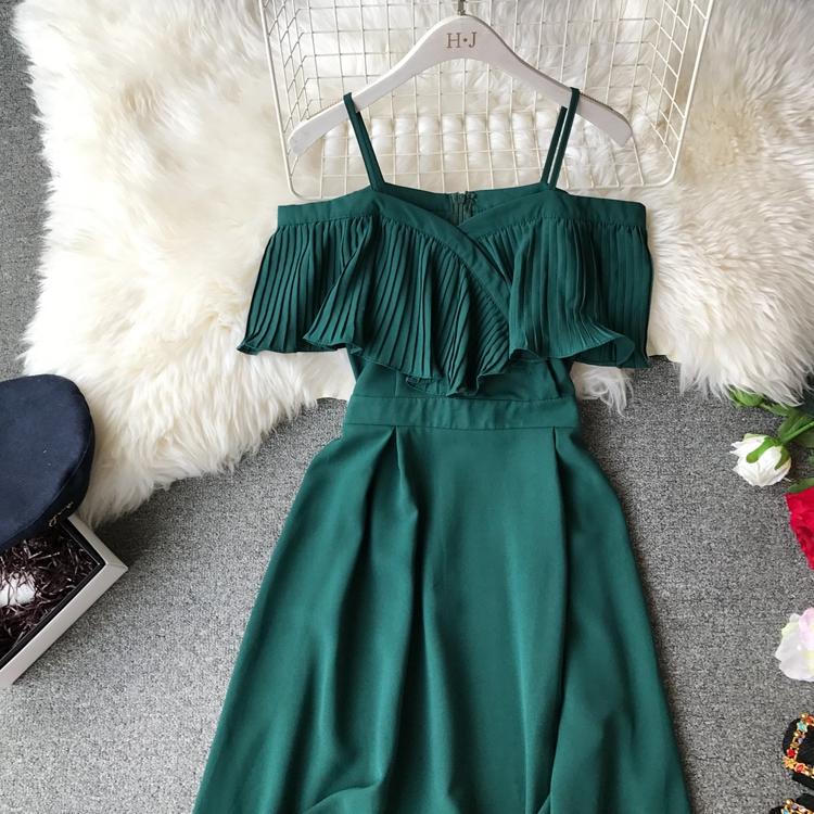 2019 Spring Women Chiffon Pleated Braces Sling Spaghetti Strap Goffer Long Dress Ladies Ruffles Empire Drapped Swing Slip Dress 147