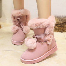 Women Snow Boots Large Size 35-40 Winter Boots Shoes Super Warm Plush Boots pink Colors 2017 Fashion Women Shoes(China)