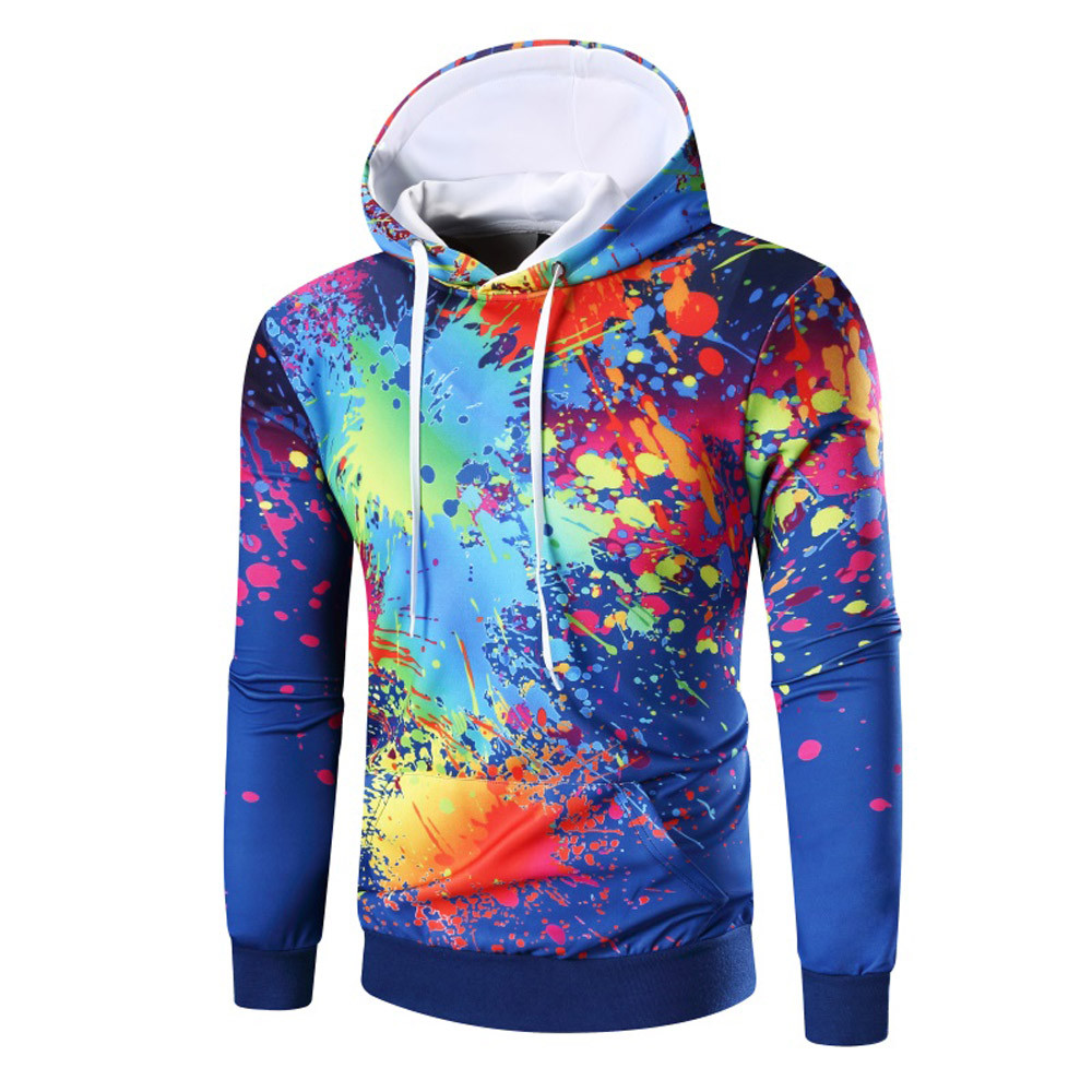 Men's Long Sleeve Digital 3D Print Hoodie Hooded Sweatshirt Tops Coat Outwear 2017 Men Winter Hoodie Warm Hooded Coat Jacket(China)