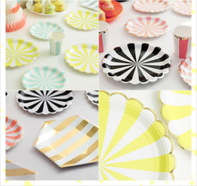8pcs colorful Striped Dinner Paper Plates Foil silver Carnival Party Decor Supplies Tableware CP070(China)