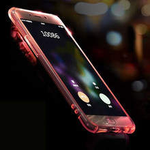 For iphone 7 & 7Plus Colorful blink Flashlight Soft TPU Shell Transparent LED Incoming Call LED Cover for iphone 7 7plus