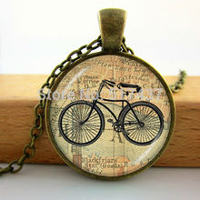 HZ--A224 Vintage Bicycle & Map pendant, cyclist gift, bicycle jewelry, bicycle pendant, antique bicycle biker HZ1