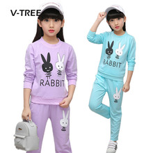 V-TREE New Girls Clothing Sets Fashion Teenage School Kids Sports Clothes Childrens Girls Brand Suit Sets T Shirt And Pants Sets(China)