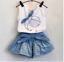 2016 baby summer girl clothing Sets fashion Cotton Cartoon Sleeveless T-shirt Tanktop Vest Skirts Shorts girls clothes suits