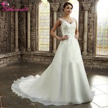 Buy Alexzendra White V Neck Beaded Organza Ball Gown Wedding Dress Appliqued Backless Bride Dresses vestido de noiva for $189.05 in AliExpress store