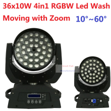 Free Shipping 36x10W RGBW 4in1 Led Wash Beam Moving Head Led Stage Lights with Zoom DJ DMX Disco Effect Equipments Party Wedding(China)