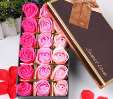 2017 New 18Pcs Scented Paper Rose Bath Soap Set Creative Gift Box For Valentine's Day Wedding Party Decoration Factory Sale(China)