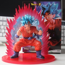 Anime Dragon Ball Super Son Goku Figure Super Saiyan God Kaiouken Goku Blue Hair Model Toy 17CM