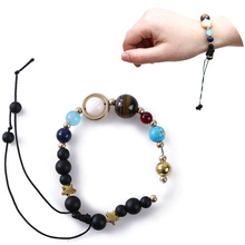 1Pc New Unisex Women Men Bracelet Solar System Eight Planets Of The Universe Galaxy Guardian Star Natural Stone Beads Bracelet(China)