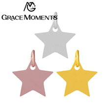 Grace Moments Full polish Beautiful Star DIY Star Charms Steel & Gold & Rose Gold 3 Colors Bracelet Charm Gifts 10pcs/lot