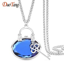 DuoTang Classic Silver Plated Lock Key Pendants & Necklaces Austrian Crystal Bag Pendant Long Sweater Chain Jewelry For Women