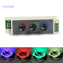 New DC12-24V rgb Dimmer controller 3 channel RGB led dimmer knob control dimming controller for led strip 3528 5050 best quality(China)