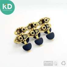 2 PC per set High end Classical Guitar Tuning Pegs Machine Heads Black and gold color w/black button Vintage style guitar parts(China)