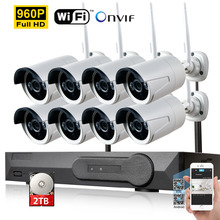 8CH CCTV System Wireless 960P NVR 8pcs 1.3MP 960P IR Outdoor P2P Wifi IP CCTV Security Camera System video Surveillance Kit