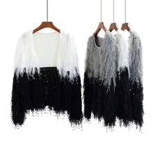 Autumn Winter Women Tassel Color Blocking Mohair Knitted Jumpers Tops Desinger Woman Tassels Knitting Sweaters(China)