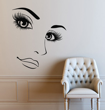 Hairdressing Hair Shop Wall Decals Beauty Salon Vinyl Wall Sticker Removable Women Long Lashes Home Decoration Wall Mural ZA296