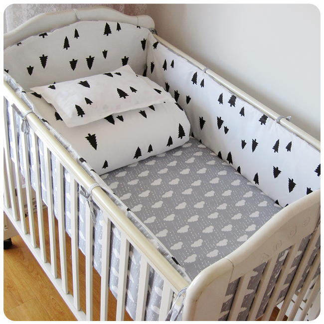 Crib Bumpers 5pcs/set  17 Styles Cotton Baby Bed Bumper Liner Baby Cot Sets Bed Around Protector Pink Clouds Colorful Tree Black<br><br>Aliexpress