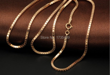 Pure Rose Gold Necklace Wider Milan Chain Necklace Stamp AU750 3.7g(China)